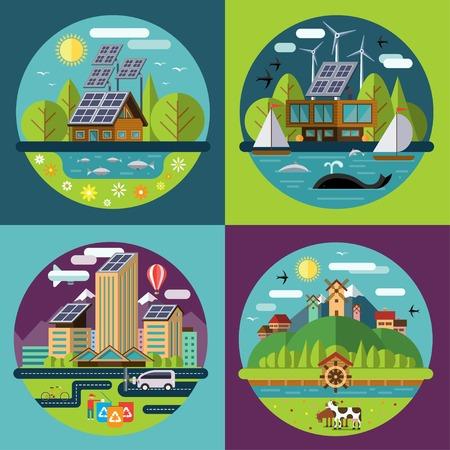 El conjunto del vector ilustraciones de concepto de ecología plana