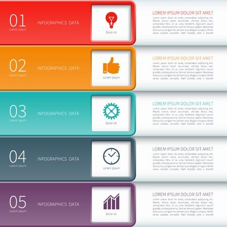 Modern minimal colorful infographics elements Ilustração