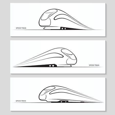 estacion tren: Conjunto de siluetas modernas trenes de alta velocidad y contornos