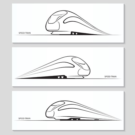 high speed railway: Set of modern speed train silhouettes and contours