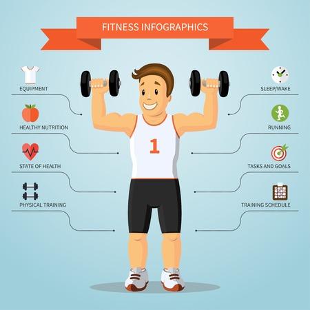 Fitness infographics concept. Vector illustratie Stock Illustratie