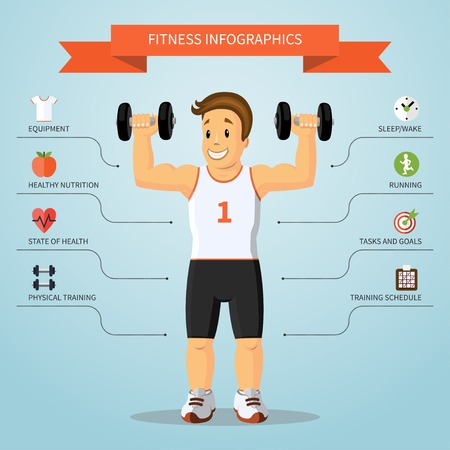 healthy lifestyle: Fitness infographics concept. Vector illustration