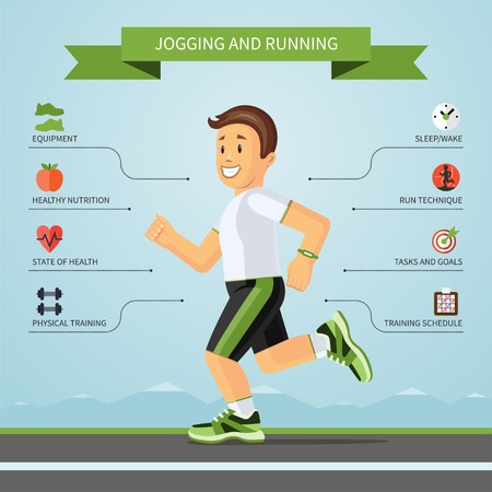 coureur: infographies fitness concept. Vector illustration