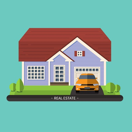 Flat design illustration of residential house Vector