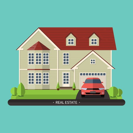 proprietary: Flat design illustration of residential house