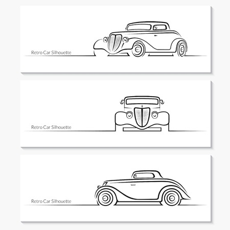 front side: Set of vintage car silhouettes