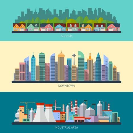 suburbia: Set of flat design urban landscape illustrations