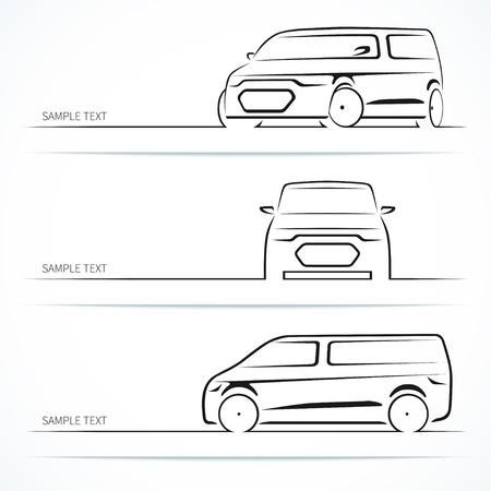 現代の車のシルエットのセット。  イラスト・ベクター素材