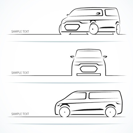 minivan: Set of modern car silhouettes.
