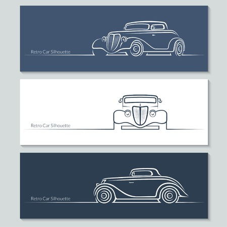 car side view: Set of vintage car silhouettes