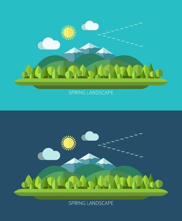 Spring nature landscape in flat design style Illustration
