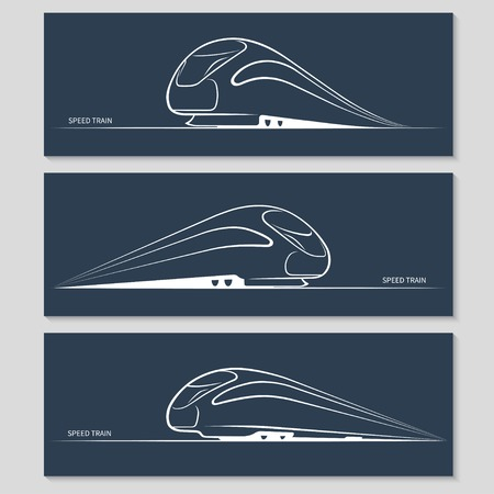 bullet icon: Set of modern speed train silhouettes Illustration
