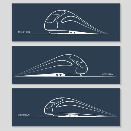 Set van moderne snelheidstrein silhouetten Stock Illustratie