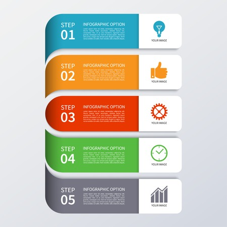 info board: Modern business infographics options banner Illustration