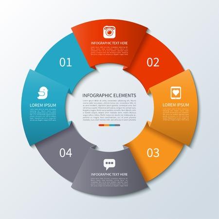 grafica de pastel: Modernos infografía de flecha círculo