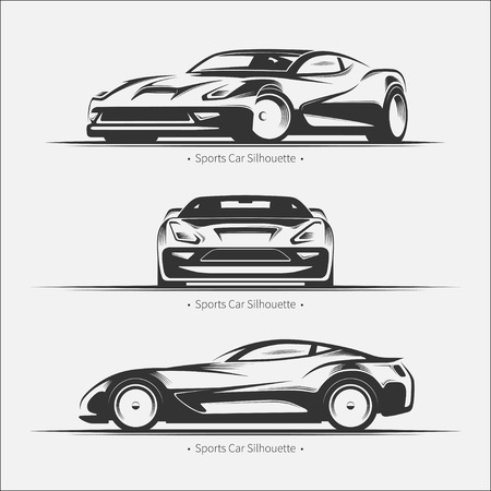 luxury cars: Set of modern car silhouettes.