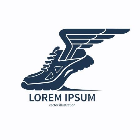 atleta: Vector exceso de velocidad corriendo s�mbolo zapato, icono