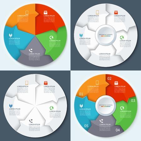 grafica de pastel: Conjunto de modernas infografías mínimos círculos