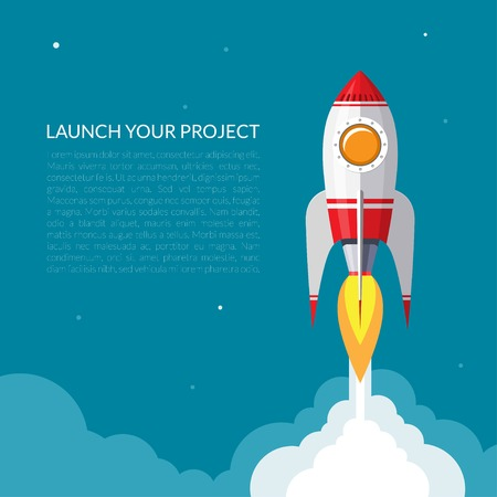 business products: Space rocket launch background Illustration
