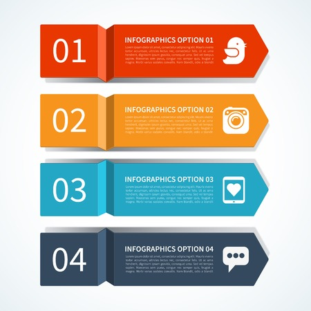 colour chart: Modern arrow design template for infographics Illustration