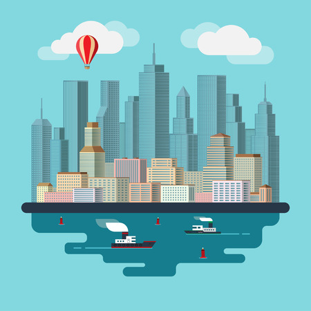 flat: Flat design urban landscape illustration