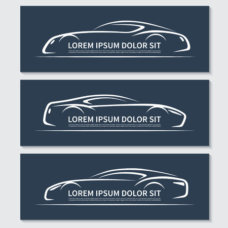 luxury template: Set of abstract sports car silhouettes Illustration