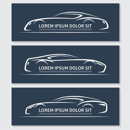 Set of abstract sports car silhouettes Ilustração