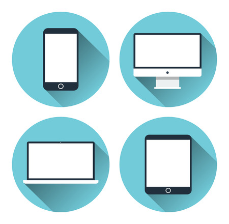 laptop vector: Set of icons of modern electronic devices. Desktop computer, tablet, laptop and mobile phone. Flat design vector illustration