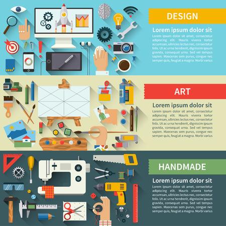 Set of flat design creative process concepts