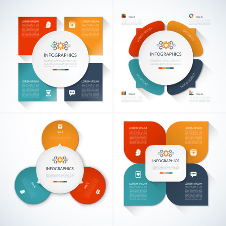 Set of modern minimal infographic design templates Vector
