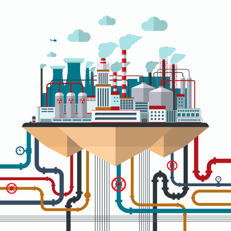 factory power generation: Flat design nature pollution concept