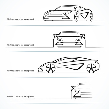 abstractions: Set of four abstract sports car silhouettes.