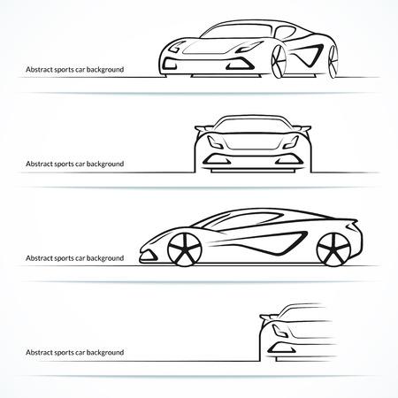 abstrakcja: Zestaw czterech abstrakcyjnych sportowych samochodów sylwetki. Ilustracja