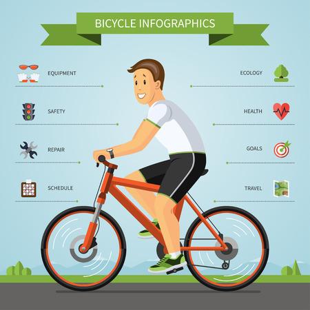 bicycle: Cartoon homme mont� sur un v�lo