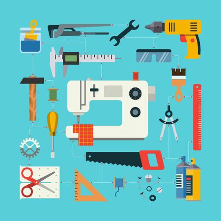 maquina de coser: Concepto hecho a mano con los iconos de costura, construcción, reparación, redacción artículos y herramientas. Diseño plano ilustración vectorial Vectores
