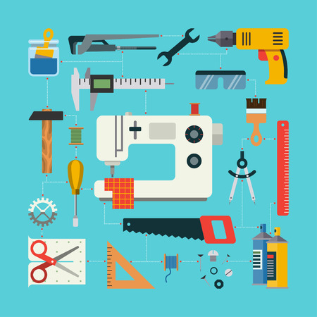 sewing machine: Handmade concept with icons of sewing, construction, repair, drafting items and tools. Flat design vector illustration