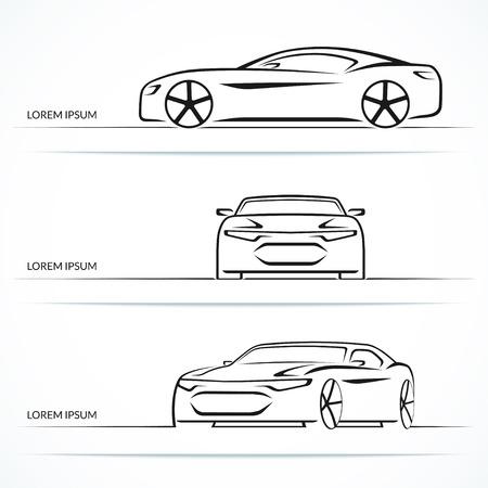 Set of modern sports car outlines
