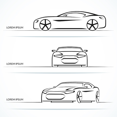 Set of modern sports car outlines