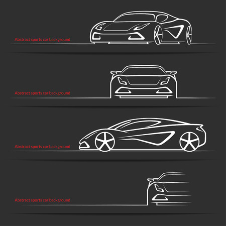 luxury: Sports car background set