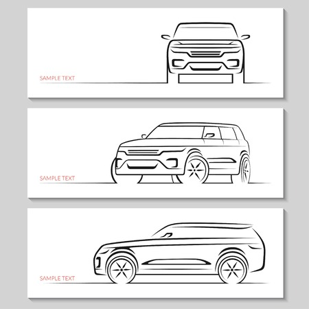 black outline: Set of modern car silhouettes.