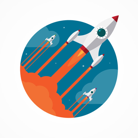 rocket: Startup vector concept with flying pencil rockets