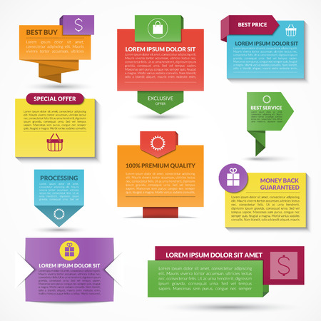 Set of vector web elements. Labels, tags, banners