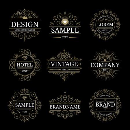 Set of vintage luxury logo templates