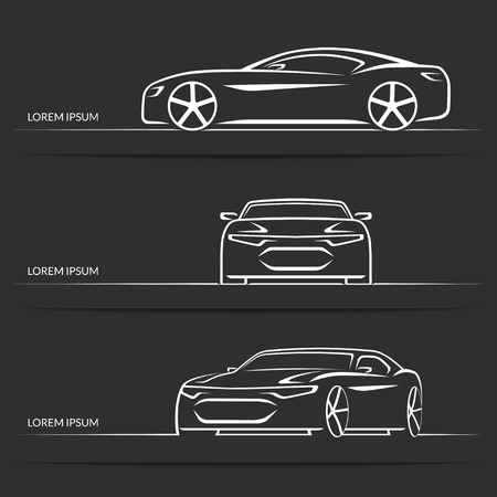 Set of vector sports car silhouettes