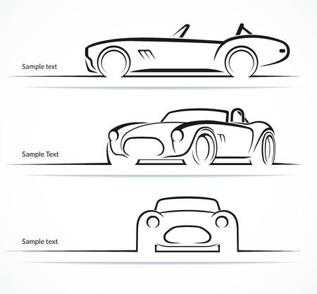 carro antiguo: Conjunto de deportes clásicos siluetas de coches de época Vectores