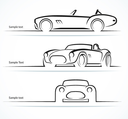 front wheel drive: Set of vintage classic sports car silhouettes Illustration