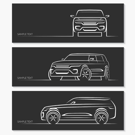 Set of car silhouettes.