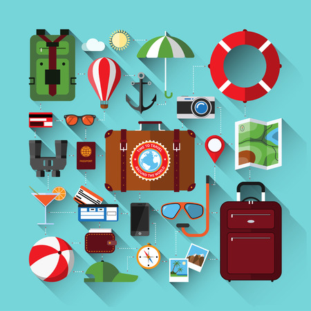 turismo: Icone piane insieme di pianificazione di una vacanza estiva