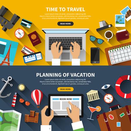 turismo: Conjunto de diseño plano concepto del recorrido del vector banners