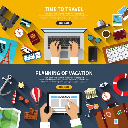 summer vacation: Set of flat design vector travel concept banners
